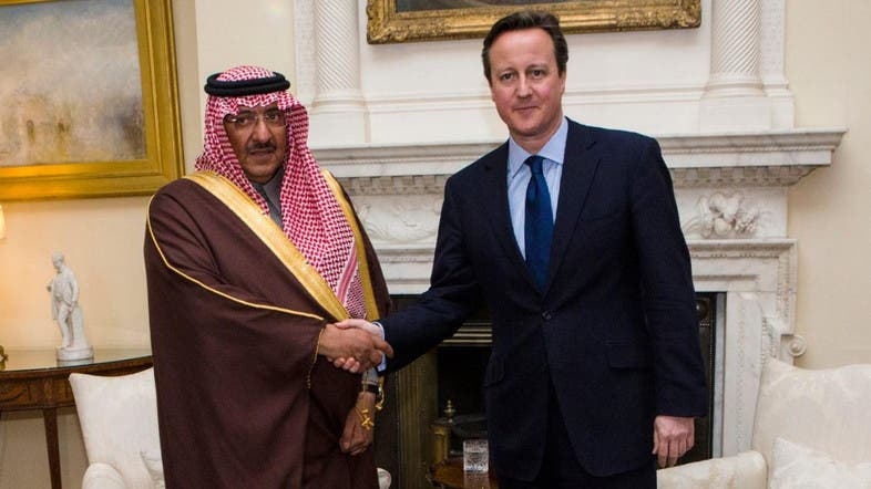 Saudi Arabia's Deputy Crown Prince Mohammed Bin Nayef and UK Prime Minister David Cameron in London