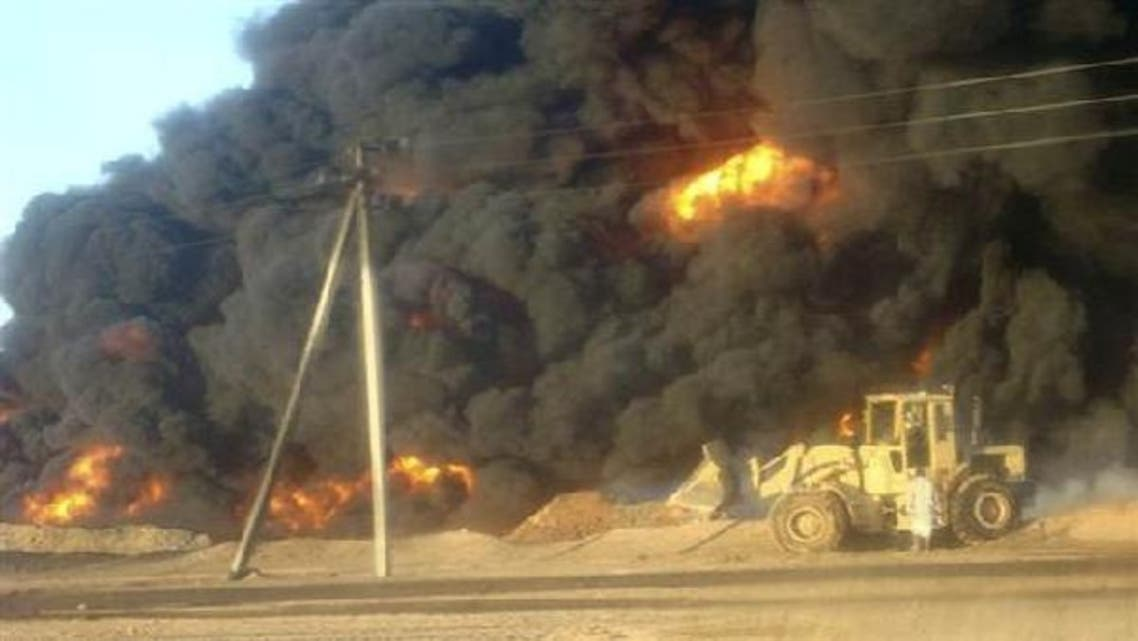 Smoke billows from the oil pipeline blown up in the southern Yemeni province of Shabwa in 2010. (Reuters)