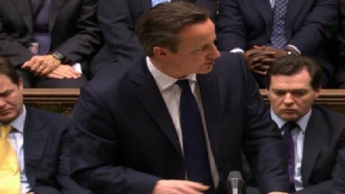 رئيس الوزراء البريطاني أثناء كلمته أمام البرلمان