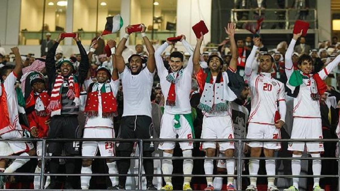 UAE players celebrate after they won the Gulf Cup Tournament final soccer match against Iraq in Isa Town, January 18, 2013. (Reuters)