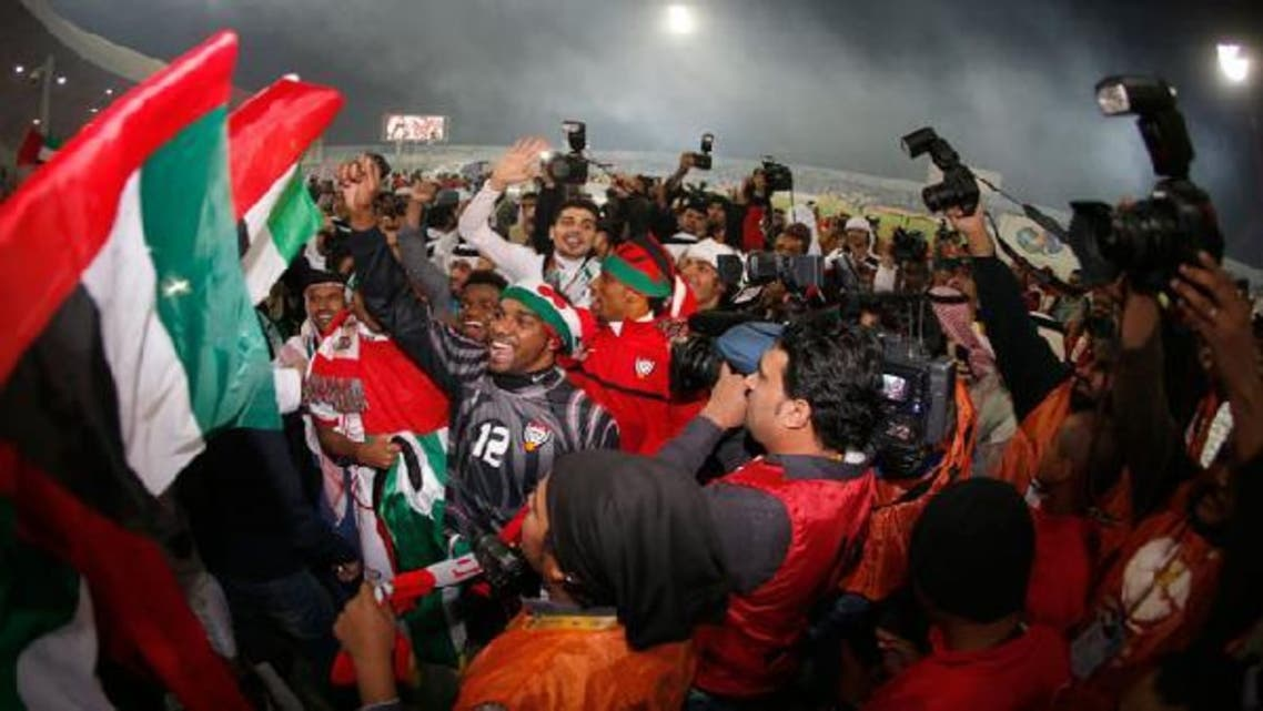 UAE players celebrate after they win the Gulf Cup final match against Iraq in Isa Town, January 18, 2013. (Reuters)