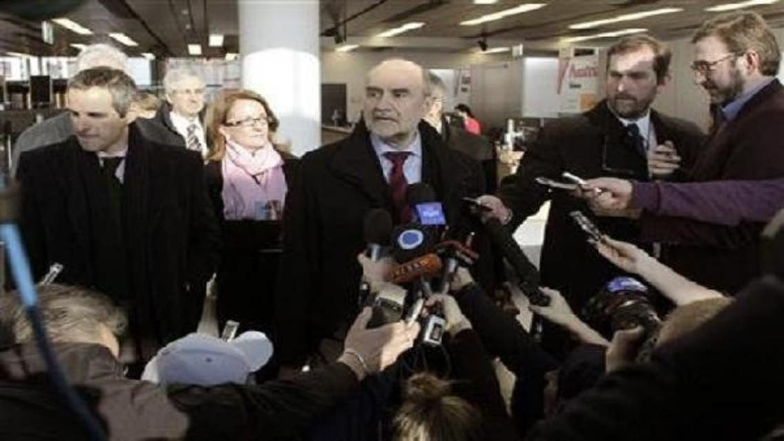Herman Nackaerts, head of the delegation of the International Atomic Energy Agency (IAEA), speaks to media in Vienna before flying to Iran, January 15, 2013. (Reuters)