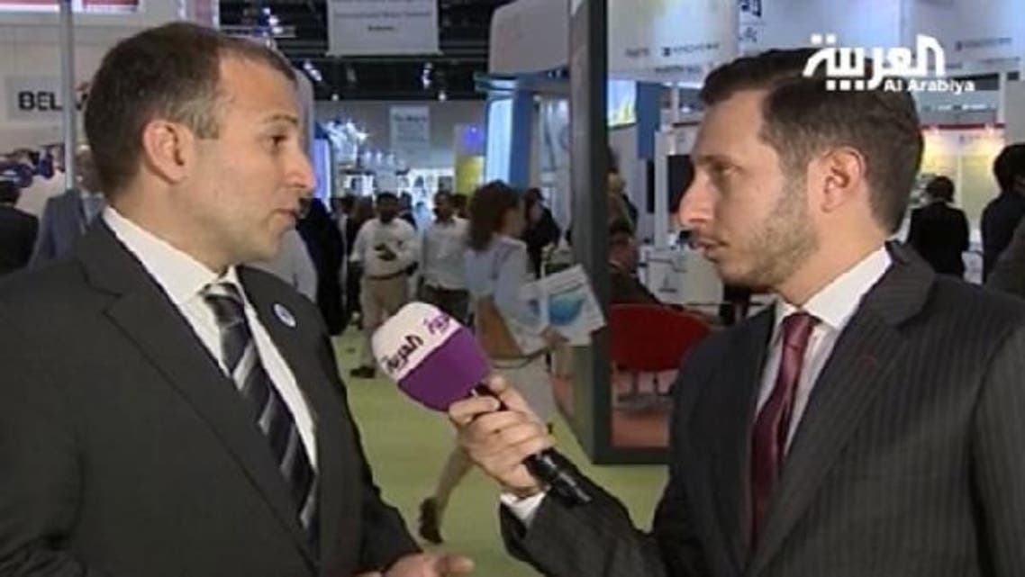 """Energy Minister Gebran Bassil, L, told Al Arabiya correspondent Naser ElTibi, R, that Lebanon """"discovered significant oil wealth and resources"""" in its maritime waters. (Al Arabiya)"""