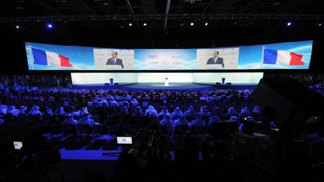A general view of the audience is seen as French President Francois Hollande speaks during the World Future Energy Summit at the Abu Dhabi National Exhibition Centre, January 15, 2013. (Reuters)