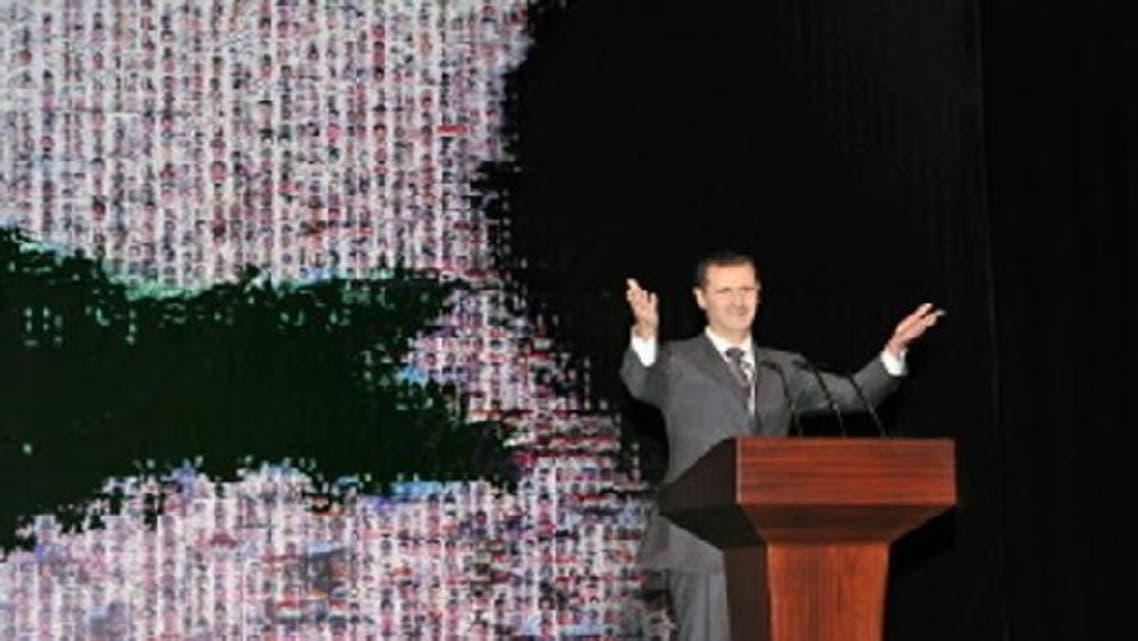 Syria\'s embattled President Bashar al-Assad making a public address on the latest developments in the country. (AFP)