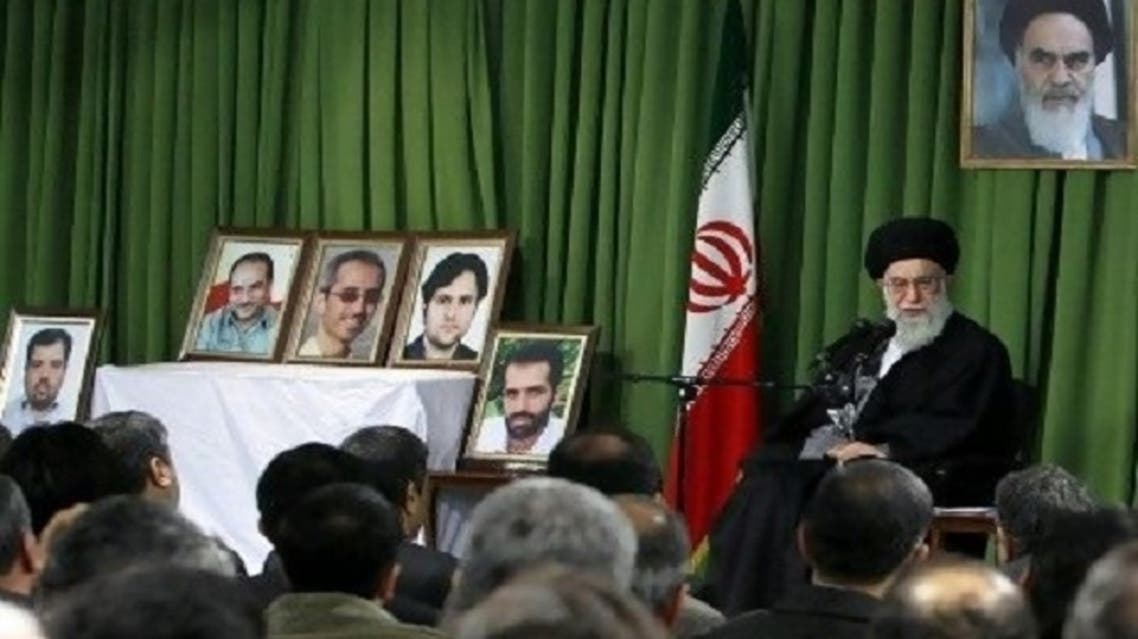 """Iran's supreme leader, Ayatollah Ali Khamenei, insists Iran is not seeking an atomic weapon and urged the scientists to """"continue the important and substantial"""" nuclear work. (AFP)"""