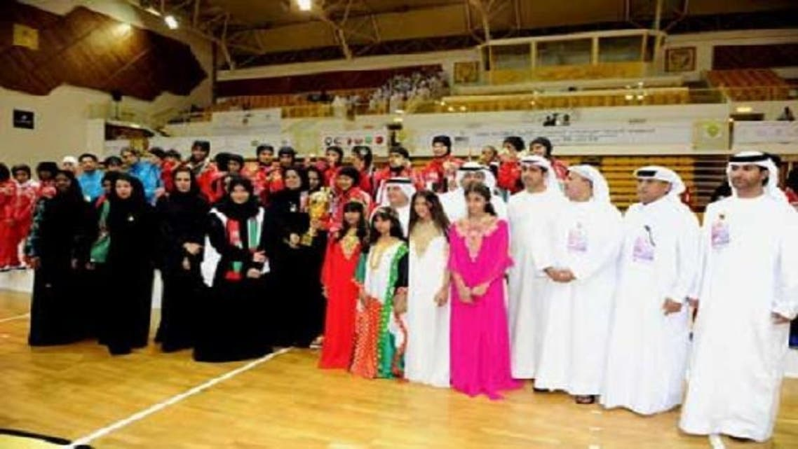 The UAE women's volleyball team with officials after emerging Gulf champions. (Photo Coutesy: Emirates24/7)