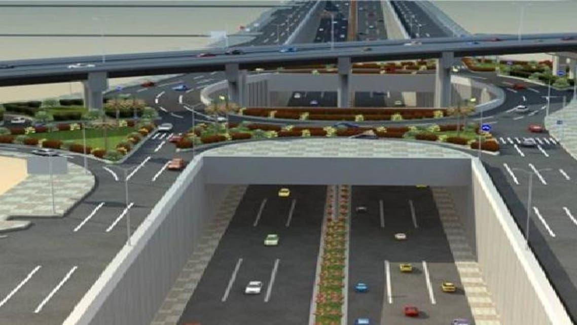 صورة لتصميم نفق وجسر الملك عبدالله تقاطع طريق الملك عبدالعزيز