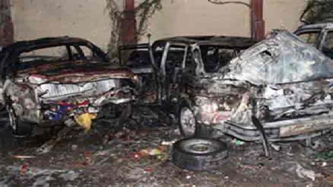 کچھ دن قبل دمشق پولیس ہیڈکوارٹرز میں کار بم دھماکے کی فائل فوٹو
