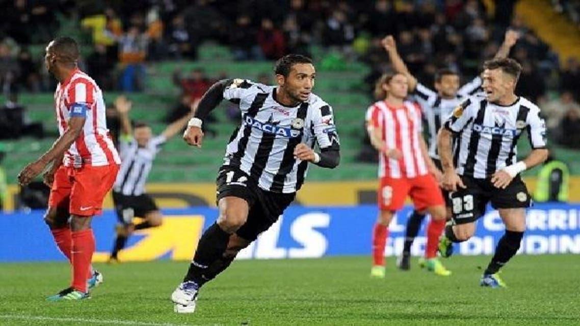 المغربي بن عطية يحتفل بأحد أهدافه مع أودينيزي