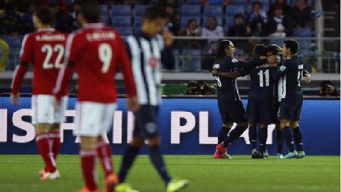 Monterrey players celebrate after teammate Jesus Corona scored against Egypt\'s Al-Ahly. (Reuters)