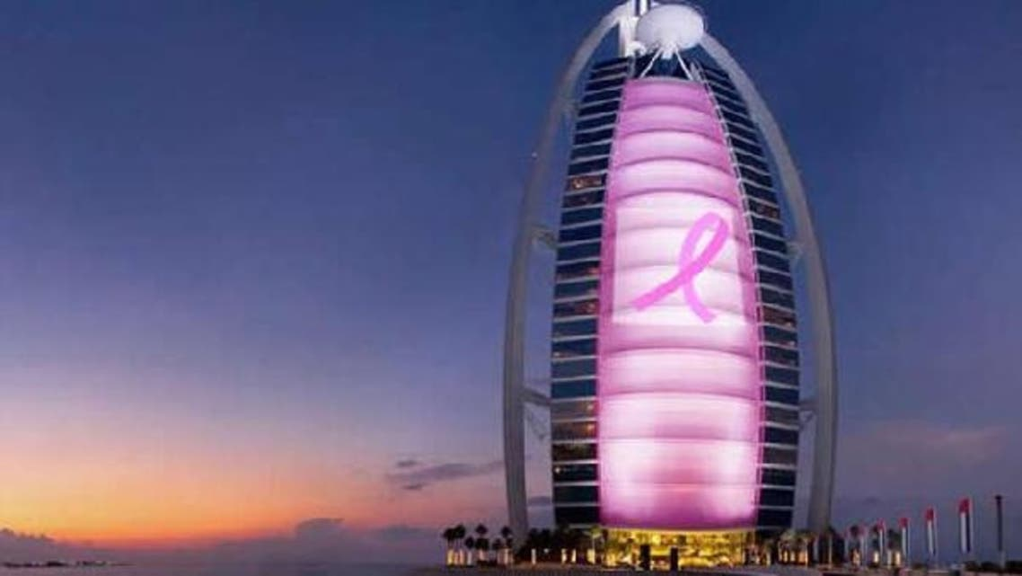 The Dubai-based luxury hotel, Burj Al Arab is celebrating this Breast cancer awareness month by launching the Pinking Burj Al Arab campaign (photo courtesy of www.luxurylaunches.com)