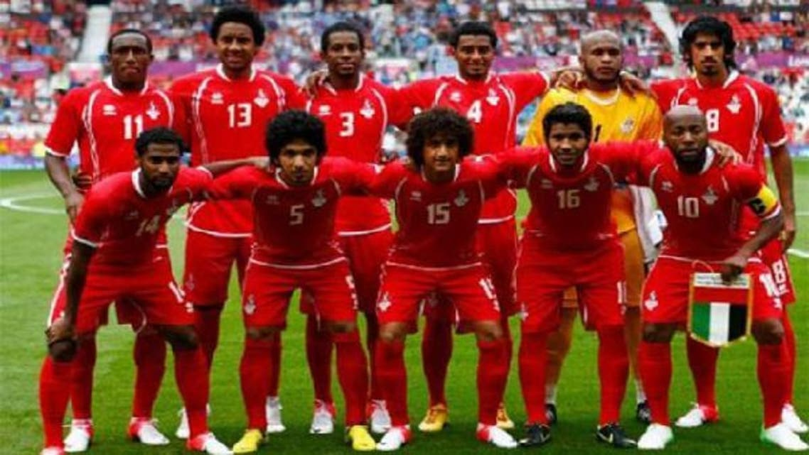 Members of UAE's national team pose for a photo at the London 2012 Olympic Games in Old Trafford stadium in Manchester. (Reuters)