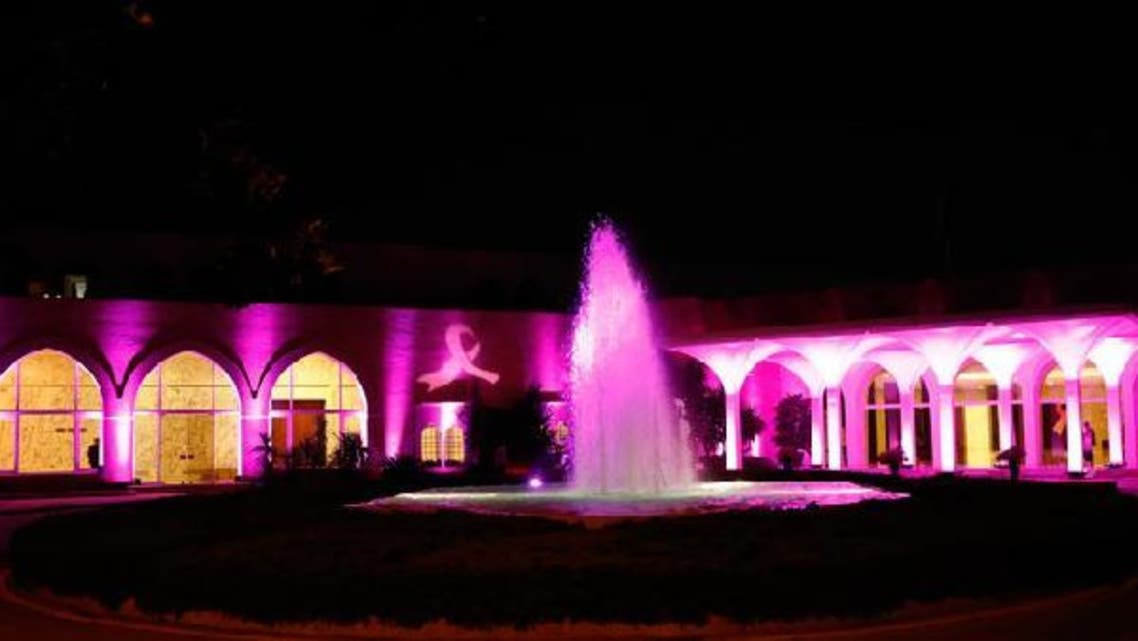 Lebanon's presidential palace in pink to for breast cancer awareness. (Photo courtesy of Lebanon\'s National Breast Cancer Committee)