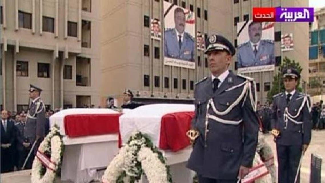 مقتول جنرل وسام الحسن کے جنازے میں ہزاروں افراد کی شرکت