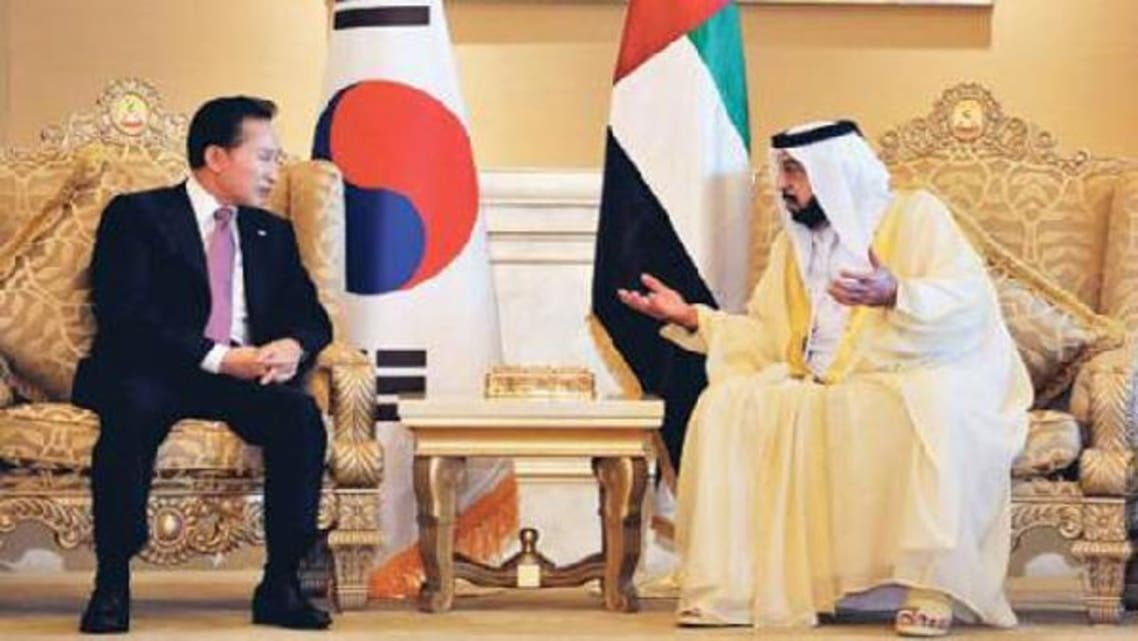 UAE President Sheikh Khalifa Bin Zayed Al-Nahyan meets with South Korean President Lee Myung-bak in Abu Dhabi. In 2009, a South Korean consortium won a deal to build and operate four nuclear reactors for the UAE. (Reuters)