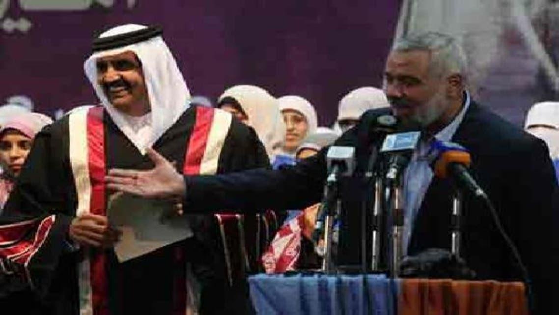 امیر قطر شیخ حمد بن خلیفہ آل ثانی اور اسماعیل ہنیہ غزہ یونیورسٹی کے جلسہ تقسیم اسناد میں