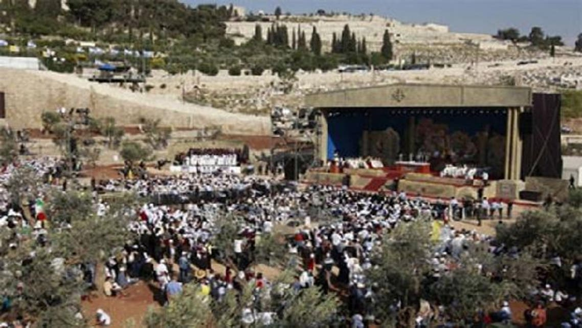 Pope Benedict XVI leads a mass at the Garden of Gethsemane at the foot of the Mount of Olives in Jerusalem. (Reuters)