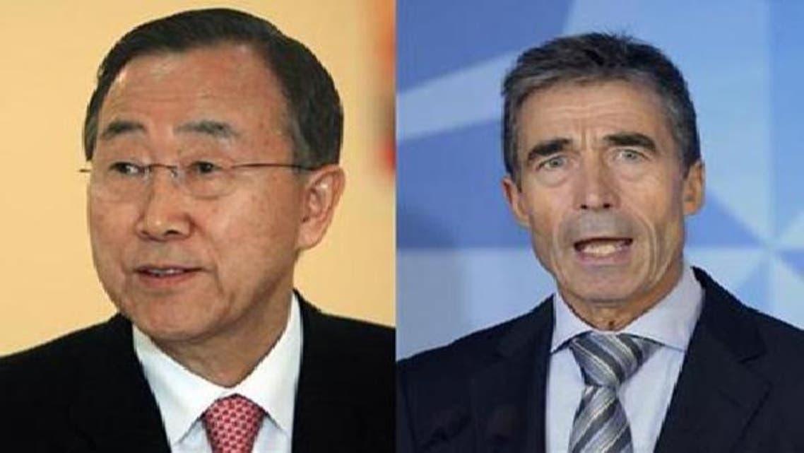 نیٹو کے سربراہ آندرس فوگ راسموسین (دائیں) اقوام متحدہ کے سیکرٹری جنرل بین کی مون (بائیں)