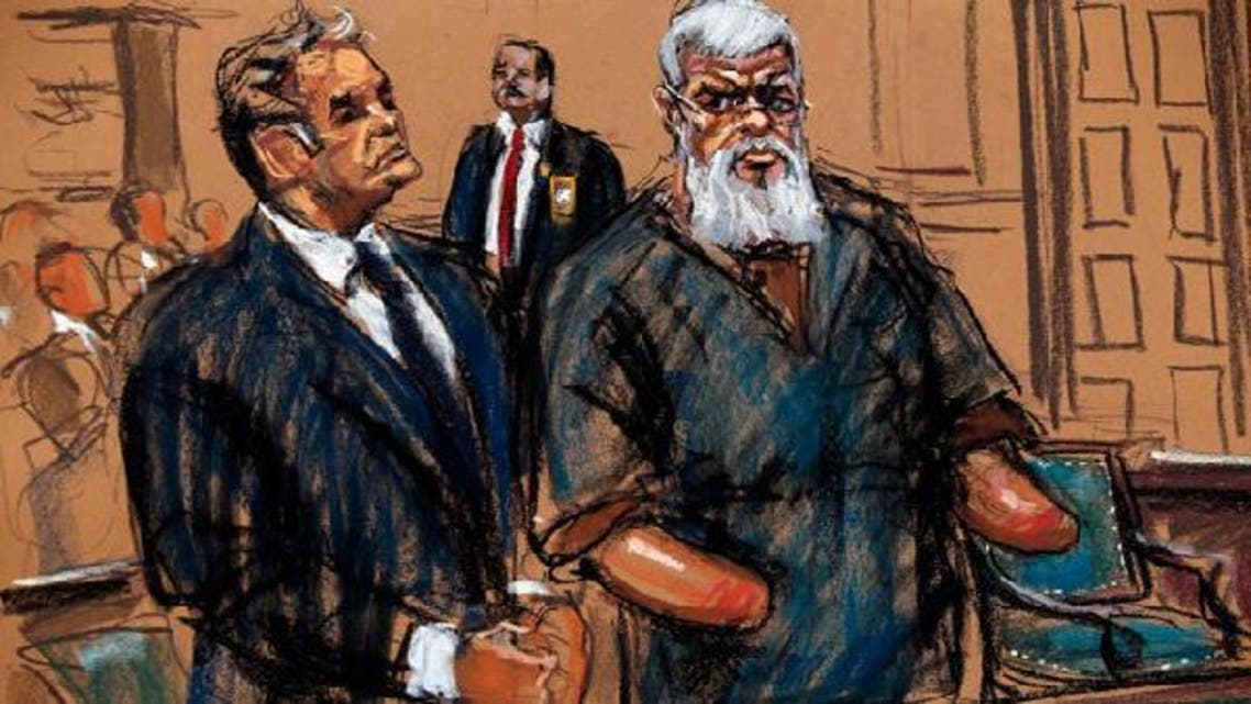 Islamist cleric Abu Hamza al-Masri is seen in this courtroom sketch standing with his lawyer Jeremy Schneider where he pleaded not guilty to criminal charges in U.S. District Court in Manhattan, October 9, 2012, after he was extradited from the U.K. last week to face terrorism charges in the U.S. (Reuters)