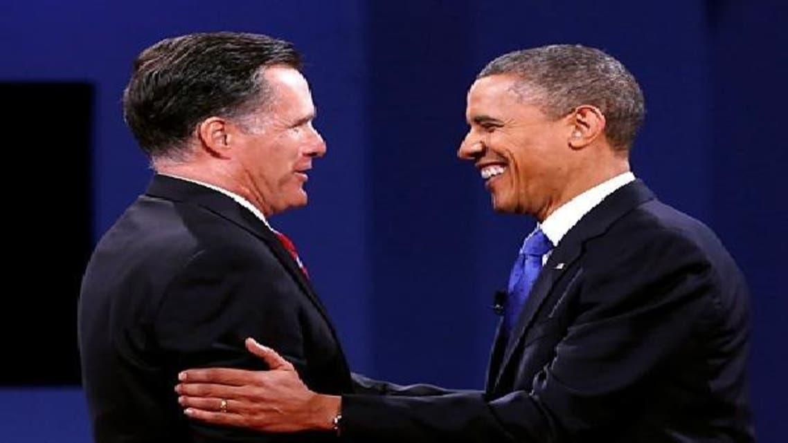اوباما اور رومنی تیسرے مناظرے کے اختتام پر