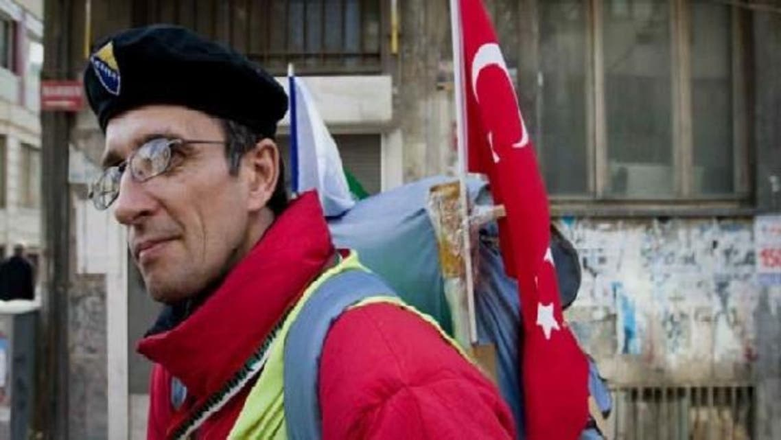 Senad Hadzic, a Bosnian muslim who walked his way through seven countries on pilgrimage to Mecca since December, finally arrived on Monday. (Photo courtesy of The World.org)