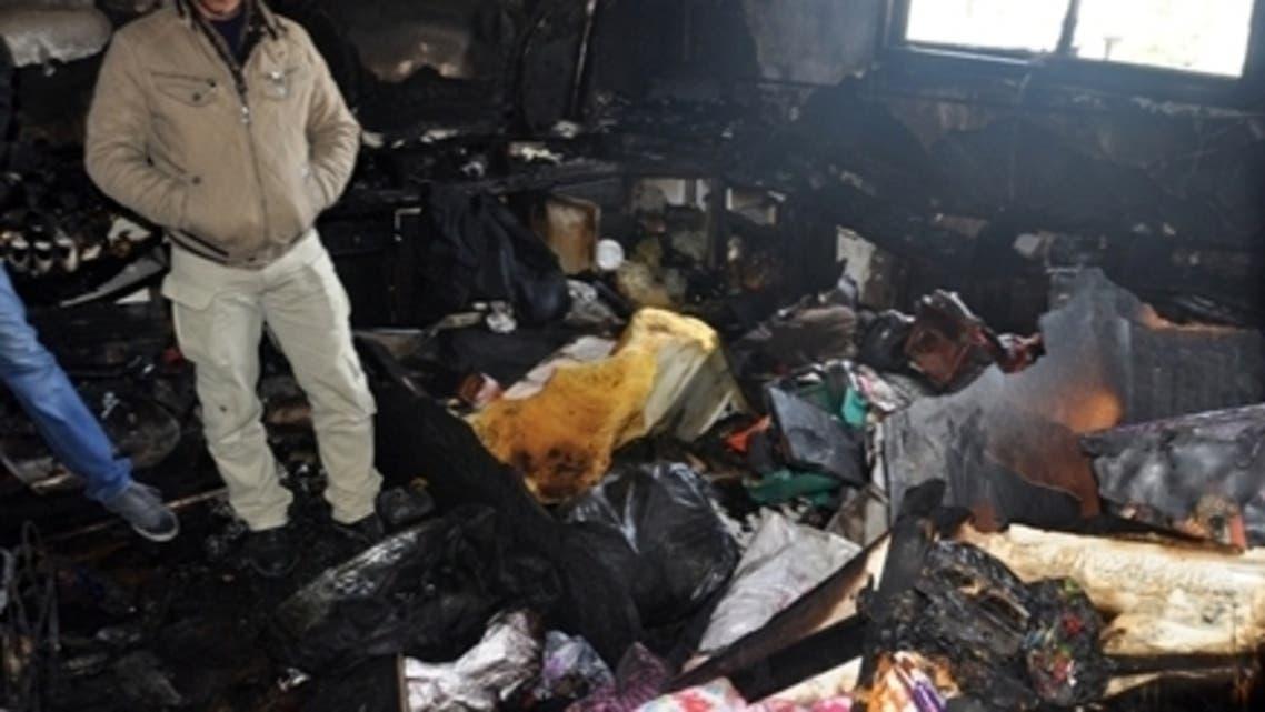 حريق غزة بسبب شمعة