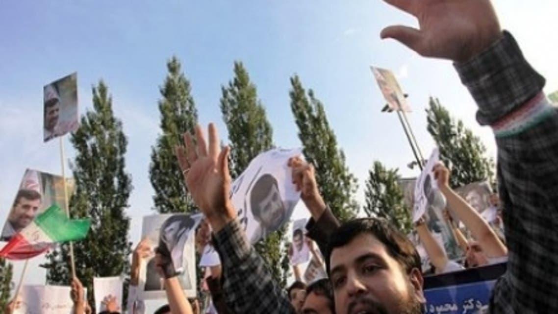 برخی از حامیان محمود احمدی نژاد رئیس جمهوری اسلامی ایران سه شنبه ۵-۲-۲۰۱۲ در اعتراض به بازداشت سعید مرتضوی در مقابل ساختمان قوه قضائیه تجمع کردند.