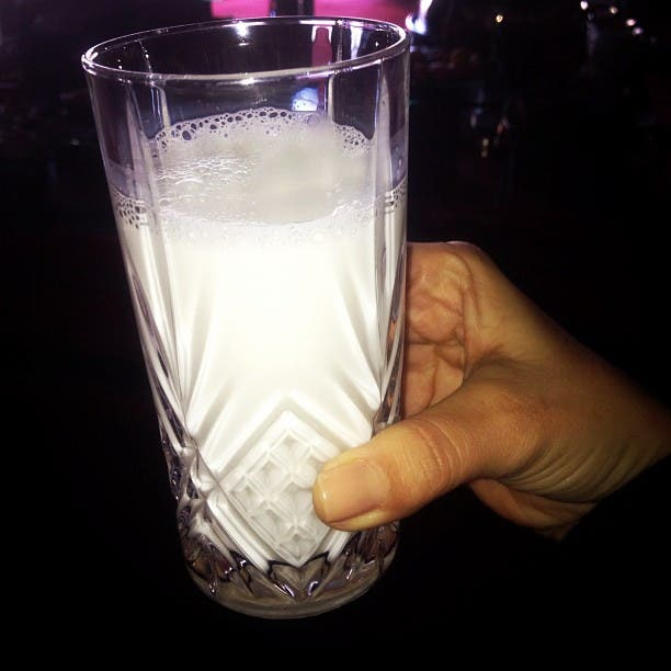 Kim Karadashian's cup of camel milk. (photo courtesy: Kim Karadashian's Twitter account)