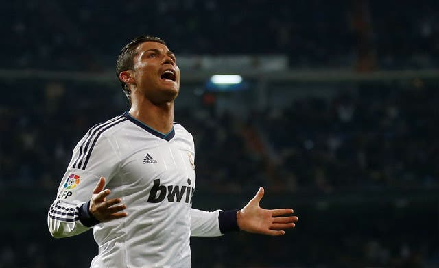 Cristiano Ronaldo celebrates his goal during their Spanish first division soccer match against Real Sociedad. (Reuters)