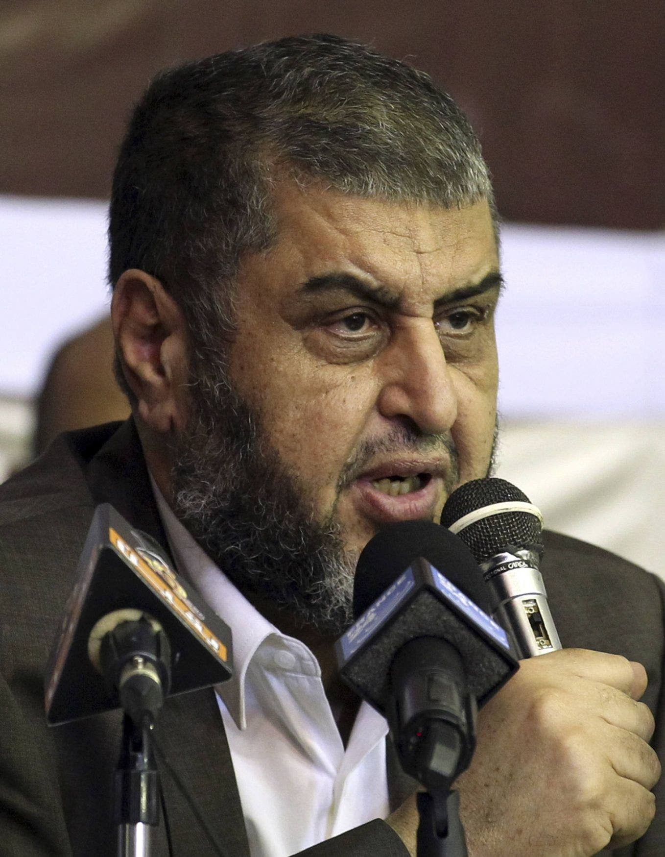 Egypt's Muslim Brotherhood candidate Khairat al-Shater speaking to his supporters during a campaign rally in Cairo. (Reuters)