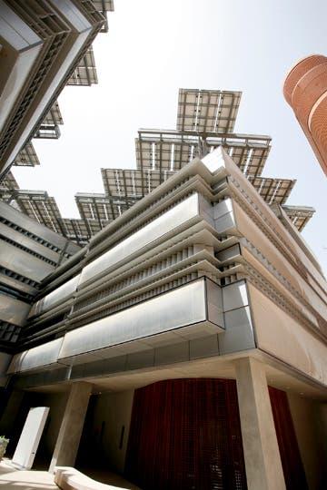 Solar panels atop of a building in Masdar City.