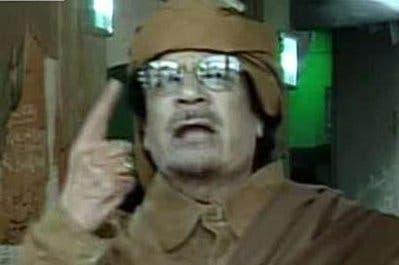 Libyan leader Muammar Gaddafi speaks on national television from Tripoli
