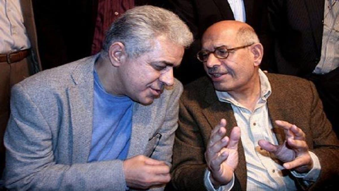 Egyptian Salvation Front leaders Former Egyptian presidential candidate Hamdin Sabahi (L) and Nobel Prize laureate Mohamed ElBaradei(R). (AFP)