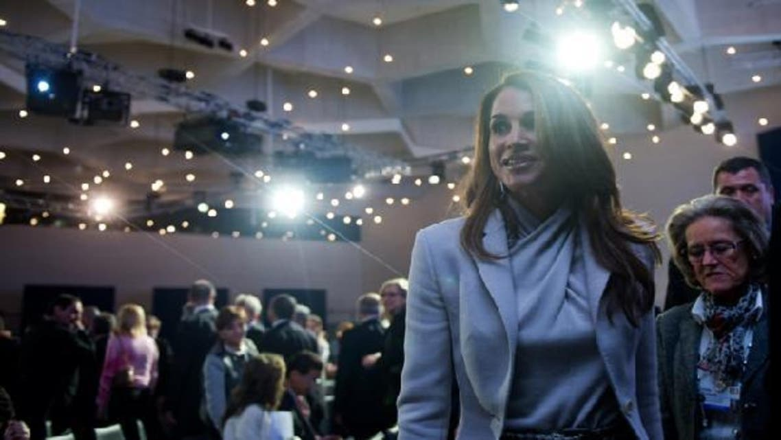 Jordan\'s Queen Rania arrives to attend on Jan. 25, 2013 a session of the World Economic Forum (WEF) meeting in the Swiss resort of Davos. (AFP)