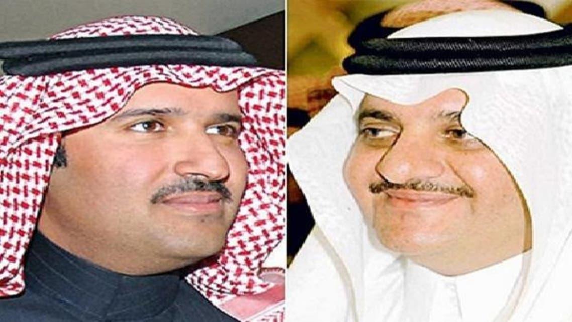 مدینہ منورہ کے نئے گورنر شہزادہ فیصل بن سلمان (بائیں) اور مشرقی صوبہ کے نئے گورنر سعود بن نایف