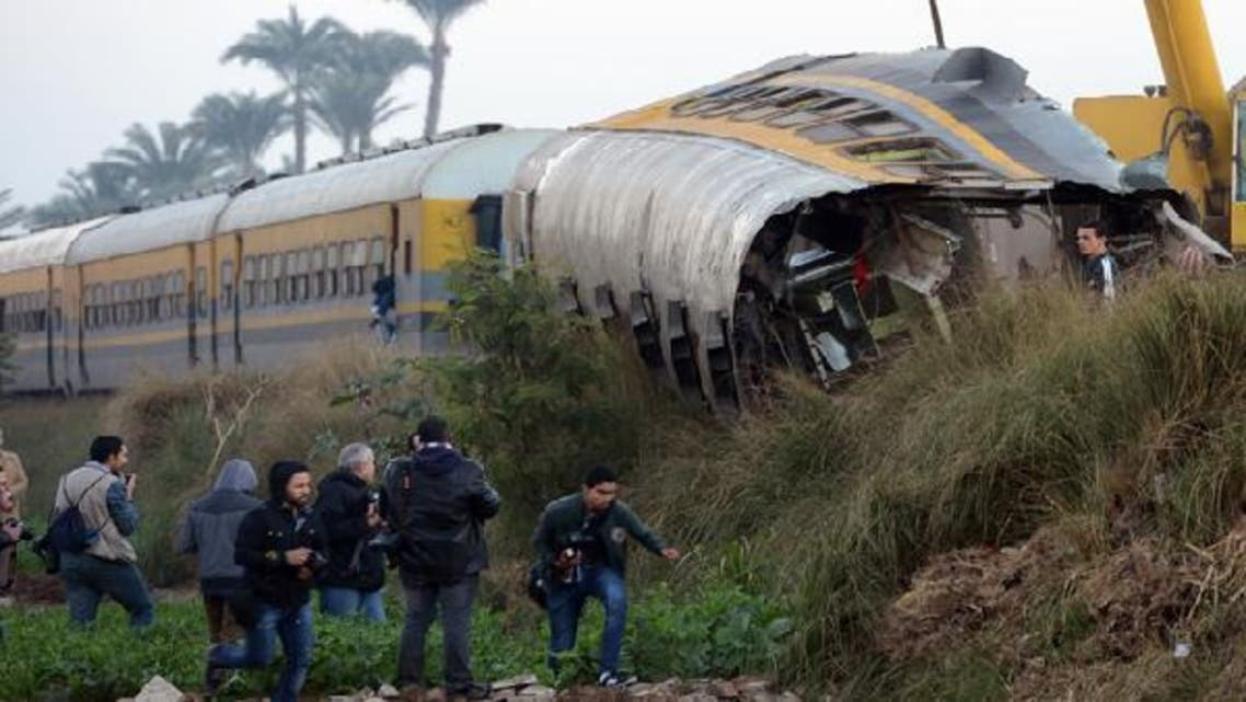 The train carrying conscripts from south Egypt to Cairo derailed in the Giza neighbourhood of Badrasheen, state media reported. (AFP)