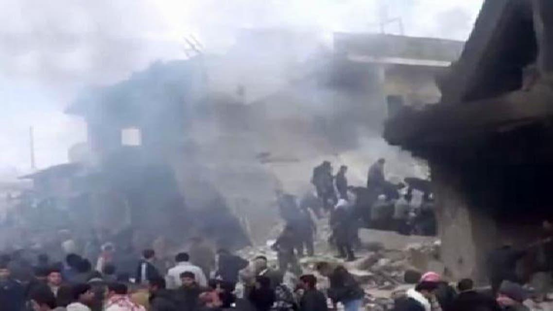 صورة من المجزرة التي ارتكبها النظام في اعزاز بحلب