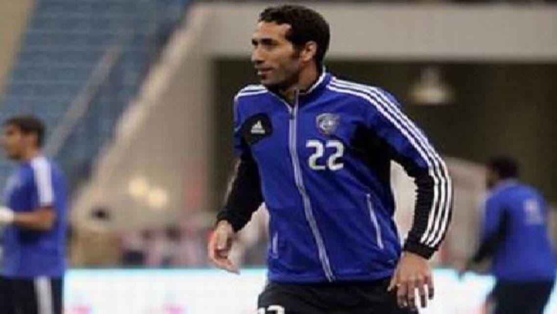 أبوتريكة بشعار الهلال خلال مباراة اعتزال عبدالله الشريدة