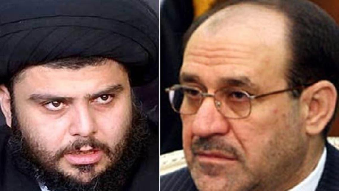 Shiite leader Muqtada al-Sadr, L, urges Prime Minister Maliki to listen to demonstrators. (Al Arabiya)