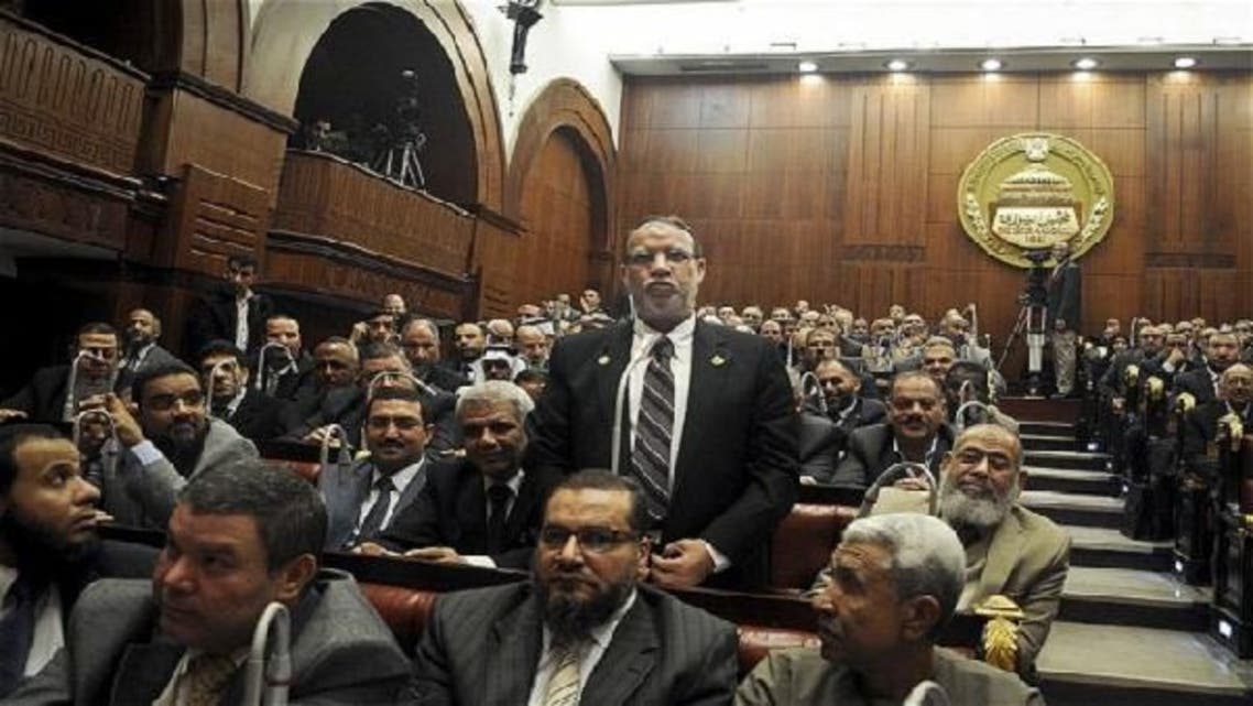 Essam el-Erian speaks during a session at the Shura Council building in Cairo (Courtesy: AP)