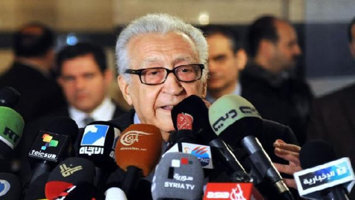 International peace envoy Lakhdar Brahimi gives a press conference at a Damascus hotel. (AFP)