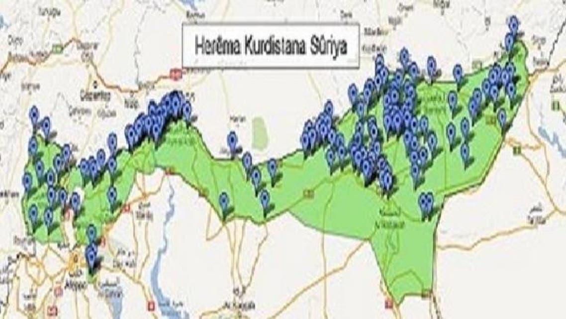 جرمنی میں قائم ایک ادارے نے خودمختار شامی کردستان کا نقشہ جاری کیا ہے۔