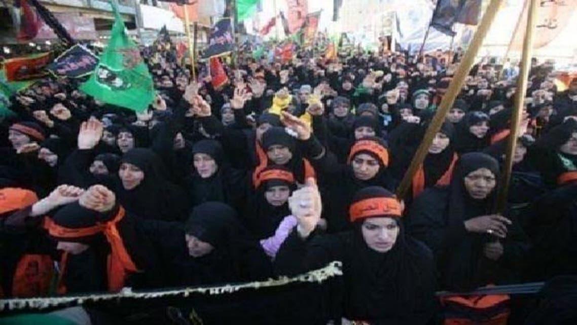 شیعہ خواتین عراق کے جنوبی شہر کربلا میں اربعین کی رسم میں شریک ہیں