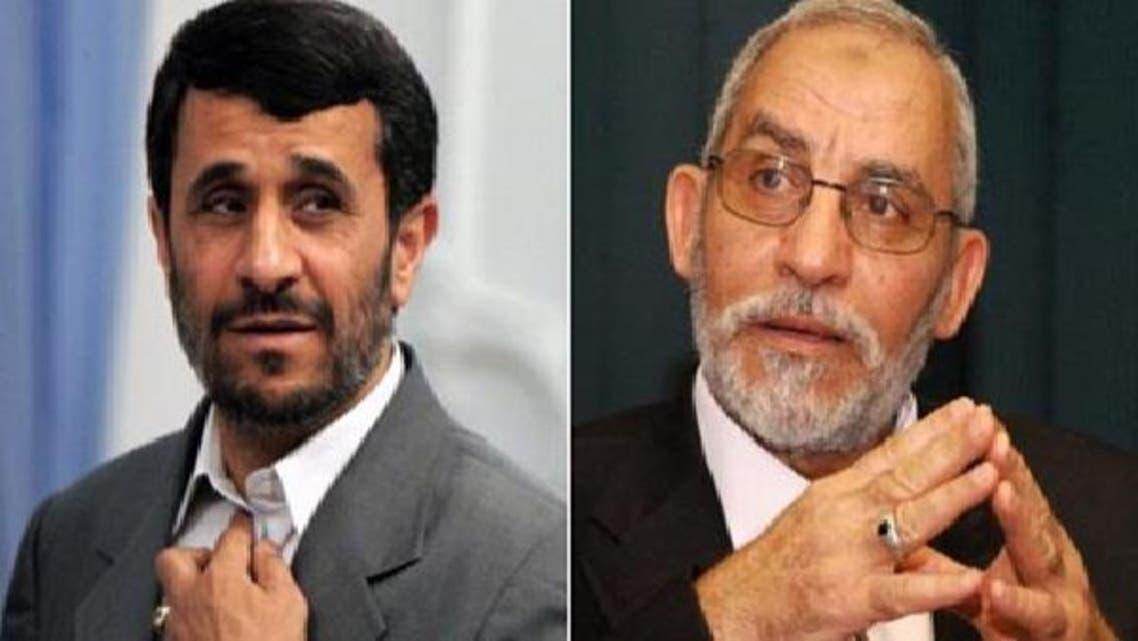 اخوان المسلمون کے مرشدعام محمد بدیع (دائیں) اور ایرانی صدر محمود احمدی نژاد(بائیں)