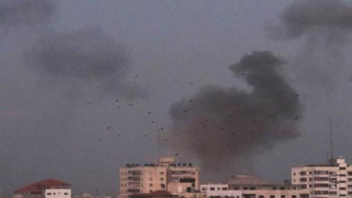 غزہ میں پولیس کمانڈ ہیدکوارٹرز پر اسرائیلی بمباری