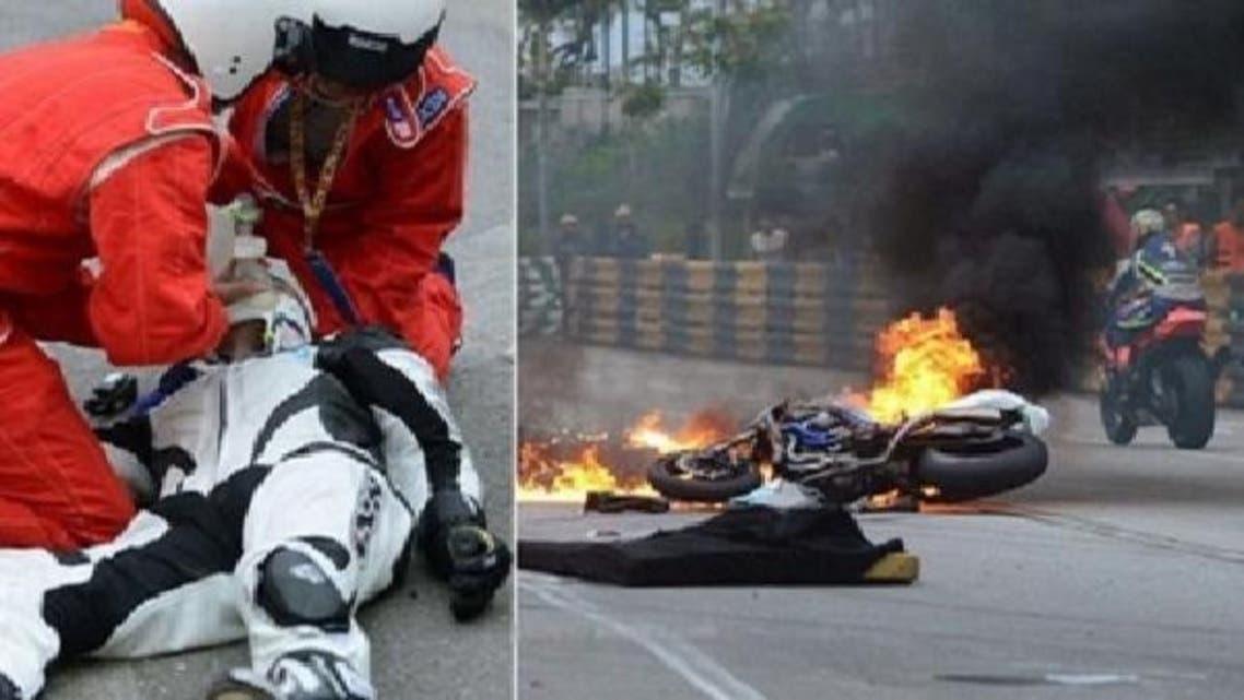 الصيني ملقى على الأرض بعد تعرضه لحادث تصادم