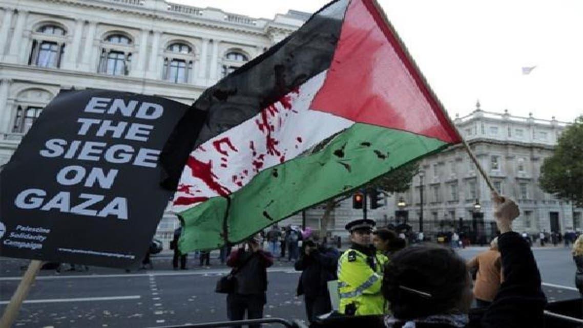 جانب من تظاهرة في أحد شوارع لندن