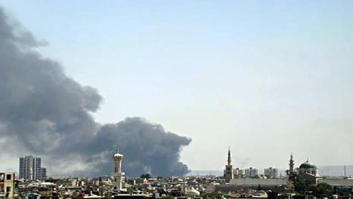 دخان جراء انفجار سابق في دمشق