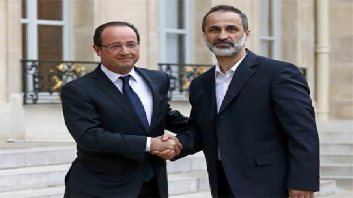 فرانسیسی صدر فرانسو اولاند شامی اپوزیشن کے سربراہ معاذ الخطیب کے ہمراہ